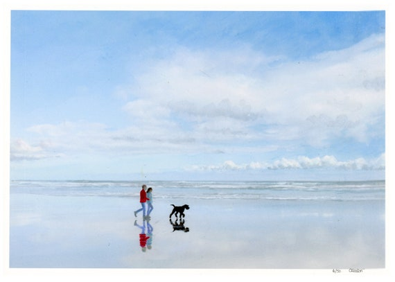 Couple and Giant Schnauzer dog on beach, A4 very limited edition print on watercolour paper, from an original watercolour painting