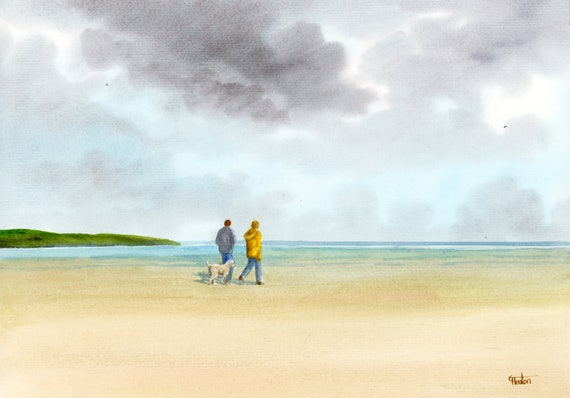 Original watercolour painting, couple and dog on beach, A4 size watercolor, original art gift from the artist England UK. Labradoodle Poodle