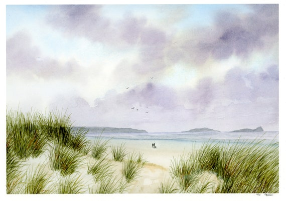 Rhossili Bay, hand finished very limited edition print on watercolour paper, hand painted couple and dog on beach,  Gower Peninsula in Wales