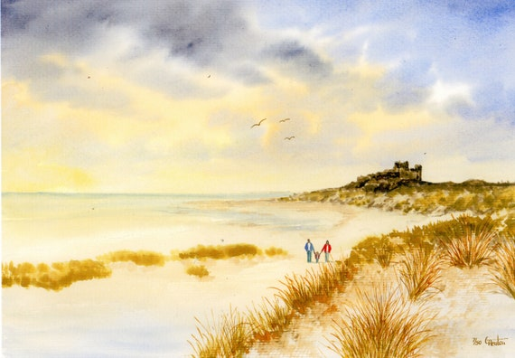 Bamburgh Castle, Hand finished and personalised very limited edition print on watercolour paper, couple and child on beach unique art gift