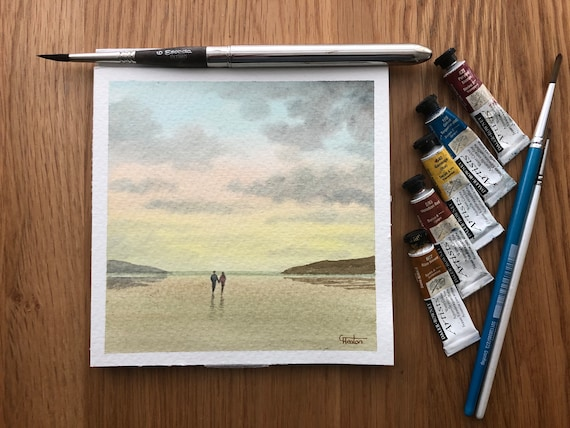 Square small original watercolour beach painting,  couple in pastel shades affordable hand painted delicate romantic watercolor art gift  UK
