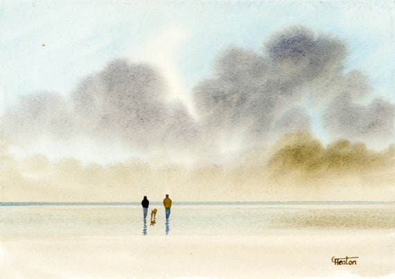 Original small watercolour beach painting, couple and dogon beach, hand painted watercolor gift A5 Size, UK artist. Stormy beach watercolor