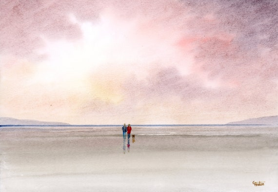 Original watercolour painting, 'October Skies' couple and dog on beach, A4 size watercolor, original art gift from the artist England UK.