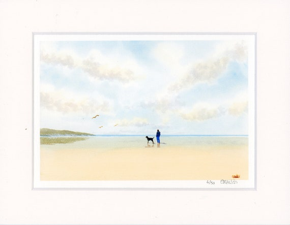 "Mounted 9"" x 7"" Limited Edition Print on watercolour paper, man and Rottweiler dog on beach from an original watercolour painting England UK"