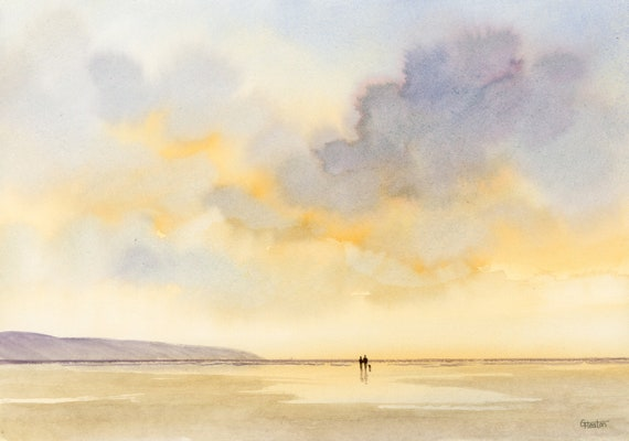 Original watercolour painting 'One Moment In Time', Couple and dog on beach, A4 size watercolor art direct from the artist in England, UK.