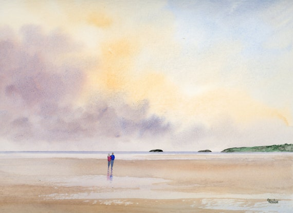 Original watercolour painting,  Couple on Abersoch beach, Wales 32 cm x 24 cm watercolor, romantic art gift, Valentine, anniversary, wedding