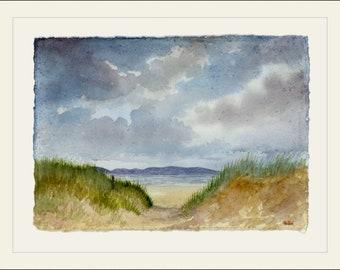 "Original 16"" x 12"" mounted deckled edged watercolour beach painting on handmade paper. Newborough Warren, sand dunes. Unique Art from UK"