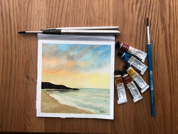 Whistling Sands, Porthor beach, Wales. Square small original watercolour sunset beach painting,  hand painted watercolor art gift, UK artist