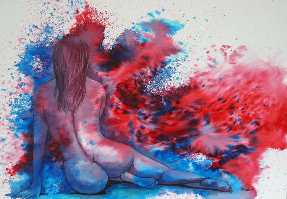 Original watercolour abstract female nude painting, 'Ellie' colourful modern art, red and blue colours