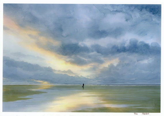 A4 size limited edition print 'Time To Unwind', figure and dog on sunset beach from an original watercolour painting, direct from UK artist