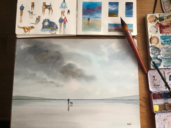 Original watercolour painting, man and Airedale dog on beach, A3 size watercolor, original stormy beach art gift from the artist, England UK