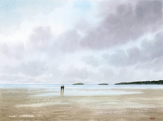 Couple on Abersoch Beach original watercolour beach painting, 40cm x 30cm coastal beach art, Llyn Peninsula, Wales,  artwork from UK artist