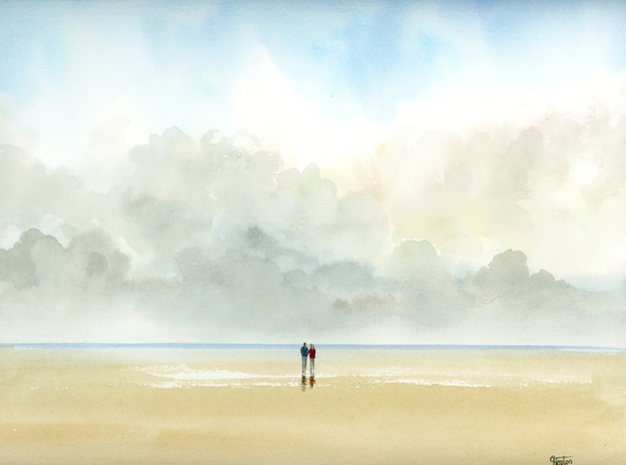 "Original romantic watercolour painting,  Couple on beach, 100 % cotton paper 30 x 24 cm (11.8"" x 9.4"") watercolor,  art gift, valentine"