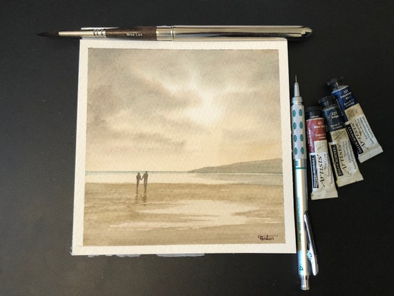 Square small original watercolour beach painting,  couple in monochrome neutral tones  affordable hand painted delicate watercolor gift,  UK