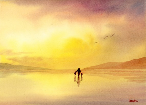 "Original watercolour painting, 'Golden Memories' figure and children on sunset beach, 210 x 297 mm (11.7"" x 8.3"") A4  Father's Day gift"