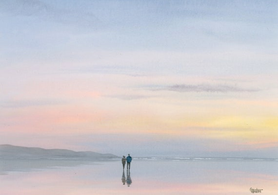Original watercolour painting, 'New Beginnings'  romantic couple on beach A4 size watercolor, original art direct from the artist in UK,