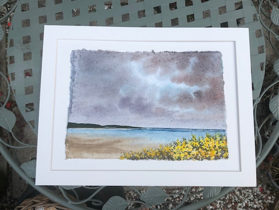 """Original 16"""" x 12"""" mounted deckled edged watercolour beach painting on handmade paper. 'Storm Over Portdinllaen'  Llyn Peninsula, Wales"""