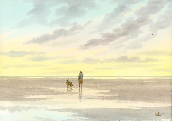 Original watercolour painting, 'Time To Unwind' man and dog on sunset beach A4 size watercolor, original art gift from the artist England UK