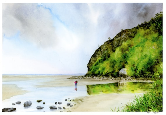 Llanbedrog Beach, Hand finished very limited edition print on watercolour paper, hand painted art gift, couple and dog on beach in Wales
