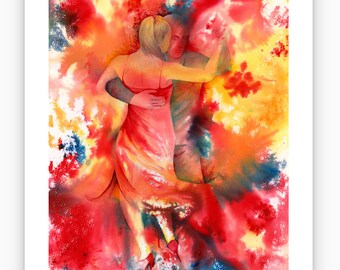 Limited edition just 25 worldwide fine print from an original watercolour 'Yearning To Dance'  signed and numbered, Tango, Kizomba