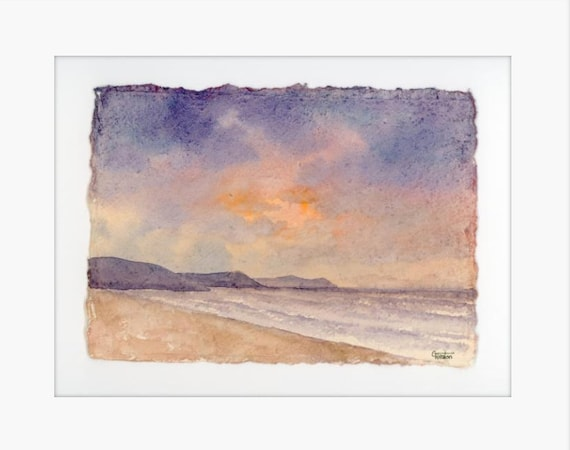 "Original 12"" x 10"" mounted deckled edged watercolour Pembrokeshire beach painting on handmade paper. Freshwater East Beach, Art gift from UK"