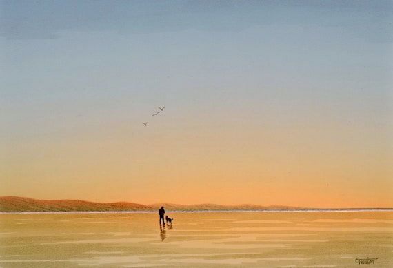 Original A4 size watercolour painting, figure and dog on sunset beach,  artwork direct from the artist in UK