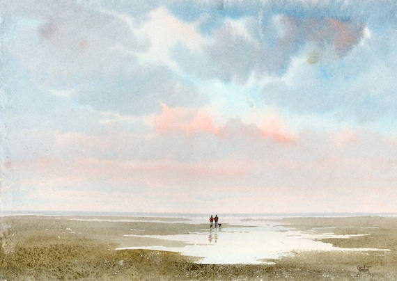 Original watercolour painting on 100% cotton heavy textured watercolor paper, couple and dog on beach, unique art 2021