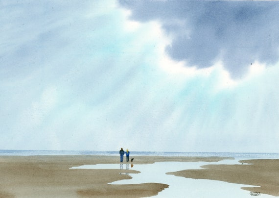 Original small watercolour beach painting, 'Every Cloud...', couple and dog on beach, unique valentine, anniversary or birthday art gift