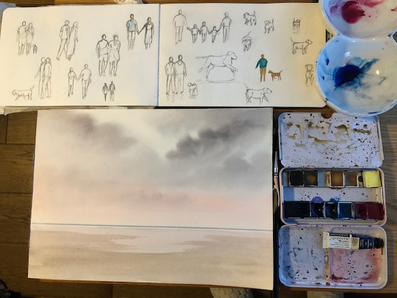 Ready to finish original A4 size watercolour painting, personalised for a bespoke finish,  beach, figures to be added, unique art gift