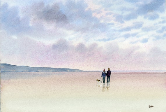 Original watercolour painting, Couple and Beagle dog on stormy beach, A4 size watercolor, romantic art direct from UK artist, unique gift