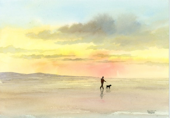 Original small watercolour beach painting,  original art, man and dog walking on a sunset beach, unique gift