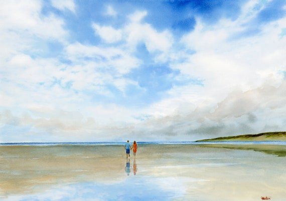 Original romantic watercolour beach painting, 'Love Changes Everything' couple on summer beach, A3 size Watercolor art direct from UK artist