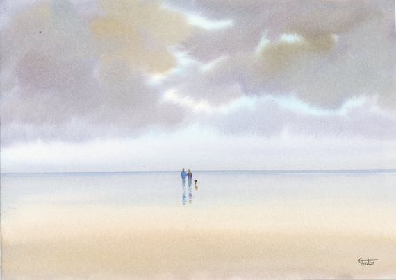 Original watercolour painting,  'A Hint Of Blue' Couple and dog on stormy beach, A4 size watercolor, romantic art direct from UK artist
