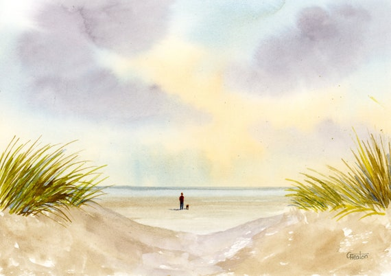Original small A5 watercolour beach painting, figure and dog on beach, sand dunes Sefton coast, Formby beach near Southport. Art gift UK