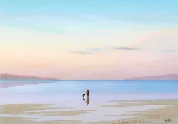 Original A4 size watercolour painting 'Dawn Reflections' figure and dog on morning beach,  artwork direct from the artist in UK