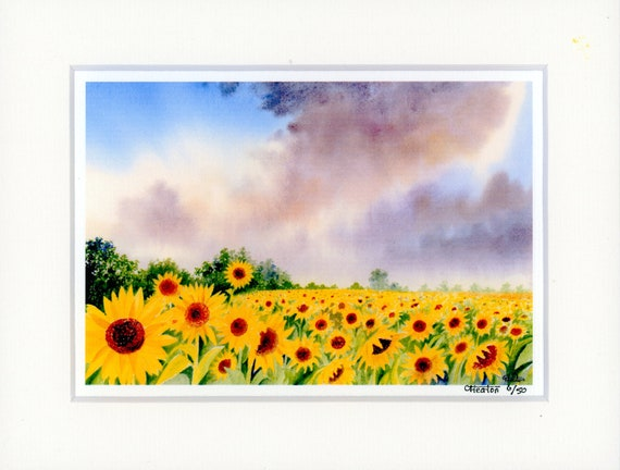 "Mounted 9"" x 7"" Limited Edition Print on watercolour paper, Sunflowers. Only 50 available worldwide from an original watercolour painting"