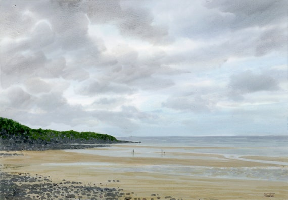 Lligwy Beach, an original watercolour painting. Anglesey, North Wales A4 size watercolor, original art from UK