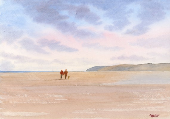 Original watercolour painting, 'Red Wharf Bay' couple and dog on beach, Anglesey, Wales A4 size wall art anniversary or wedding gift ideas