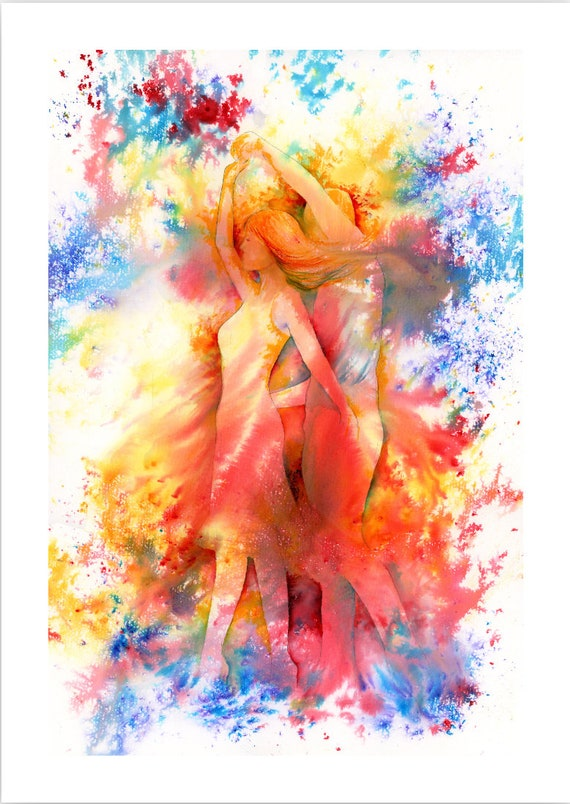 Limited edition just 50 worldwide fine art A4 print from an original watercolour 'Free To Dance'  signed and numbered, Salsa, swing
