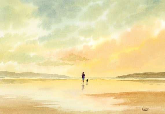 Original watercolour painting, figure and dog on beach, A4 size watercolor art Girl and Schnauzer dog direct from the artist in England, UK