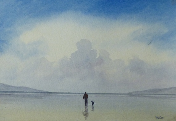 Original small watercolour painting, man and dog on beach,  A5 size affordable and original art, unique gift for Dad, Grandad, brother, son