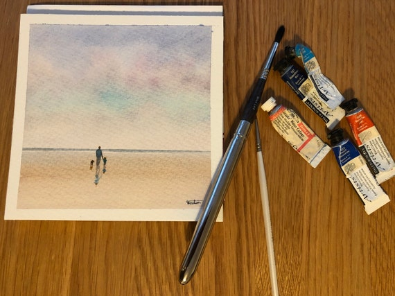 Square small original watercolour beach painting,  figure, child and dog on beach,  affordable hand painted delicate watercolor gift,  dad