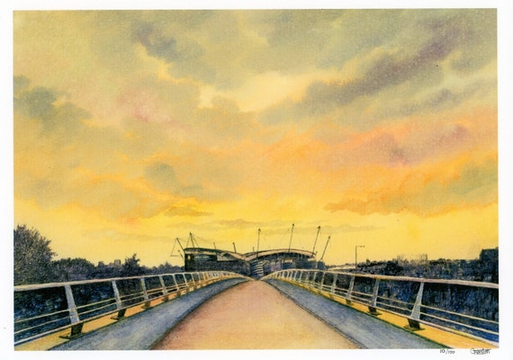 Etihad Stadium, Manchester at Sunset, limited edition print on watercolour paper, gift for City fans direct from the artist