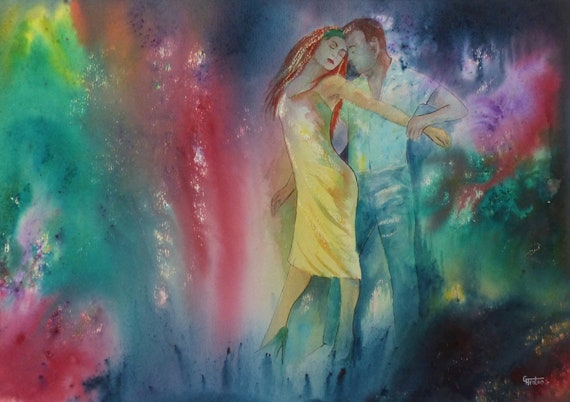 Original Watercolour and Ink 'Lost In Music' A3 Painting, dance art, couple dancing in watercolors, dancers, abstract, modern art, unique