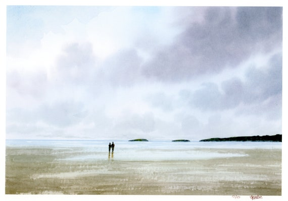 Very limited edition A4 print from an original watercolour painting of couple on Abersoch beach, Llyn Peninsula, Wales. 'Abersoch Days' art