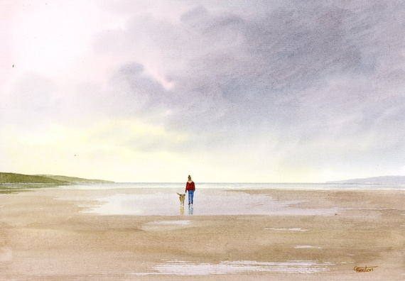 Original watercolour painting, Figure and dog on stormy beach A4 size watercolor, original art gift direct from the artist in England UK