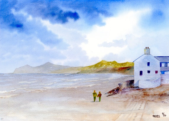 Morfa Nefyn Beach, Hand finished and personalised very limited edition print on watercolour paper, couple on Nefyn beach unique art gift