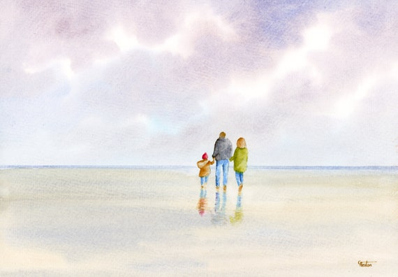 Original watercolour painting, 'Magic Moments' couple and child on beach, A4 size watercolor, original art direct from artist in England UK