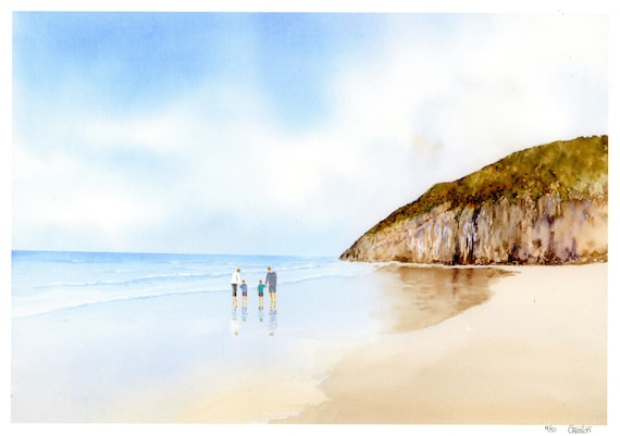 New for 2021 hand painted family on beach  'Pendine Sands', hand finished very limited edition print on watercolour paper