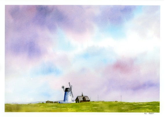 Lytham Green A4 size very limited edition print on archival paper, from a watercolour painting of the Windmill at Lytham St Annes, Fylde